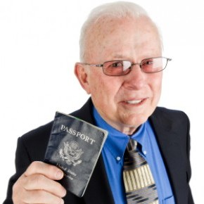 senior traveller with his passport